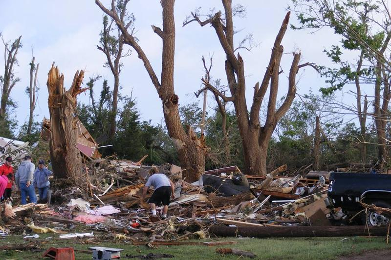 Clean-up in the aftermath of the tornado that hit Pawnee Rock in Barton County.