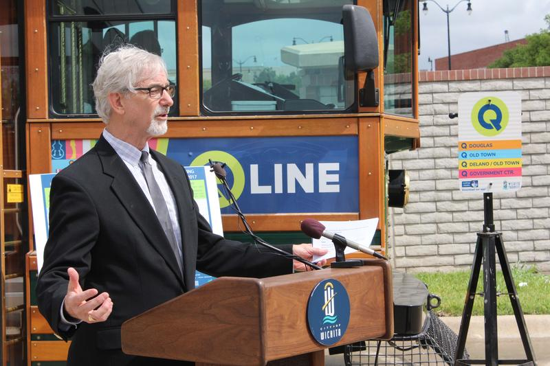 Wichita Transit Director Steve Spade speaks at an announcement at the Transit Center Thursday.