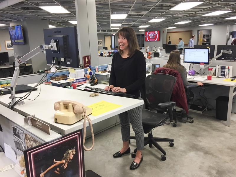 Education reporter Suzanne Tobias works in the new space.