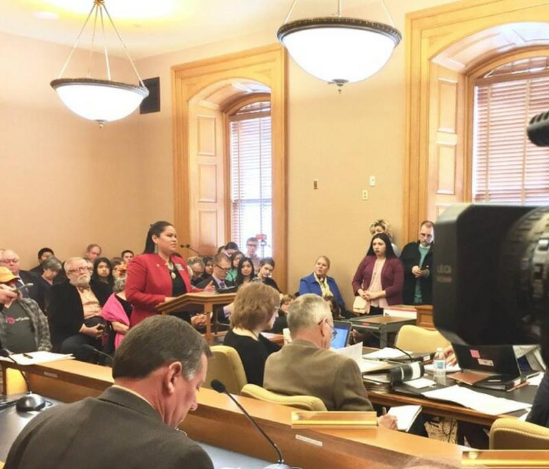 Kansas Rep. Ponka-We Victors speaks at a hearing at the Statehouse.