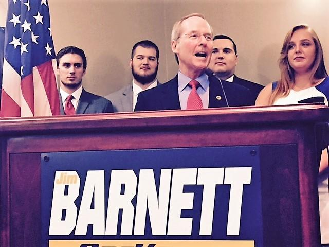 Jim Barnett, a Topeka doctor and former state senator, announced he will seek the Republican nomination for Kansas governor in 2018. Campaign employees and family members joined him for the announcement Tuesday in Topeka.