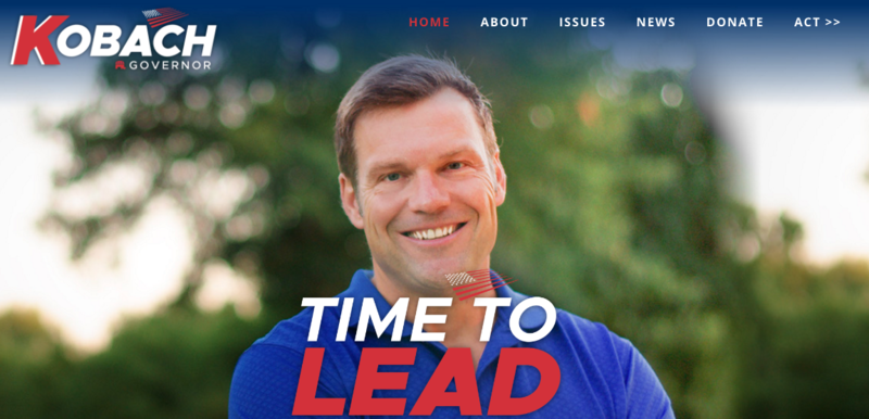 A screenshot of Kobach's new campaign website.