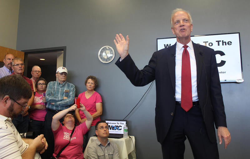 U.S. Sen. Jerry Moran speaks at a town hall meeting Thursday in Palco. Several people traveled more than 100 miles to attend the meeting, where Moran discussed the GOP bill to repeal and replace the Affordable Care Act.