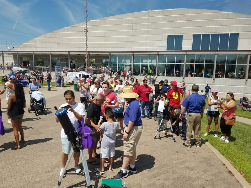 Thousands of people took part in Exploration Place's eclipse watch party.