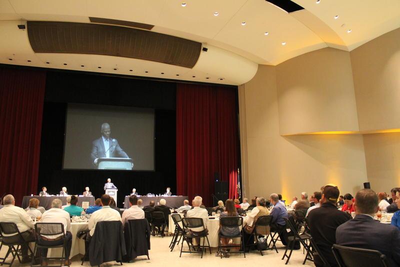 JC Watts speaks to the KIOGA convention on Monday in Wichita.