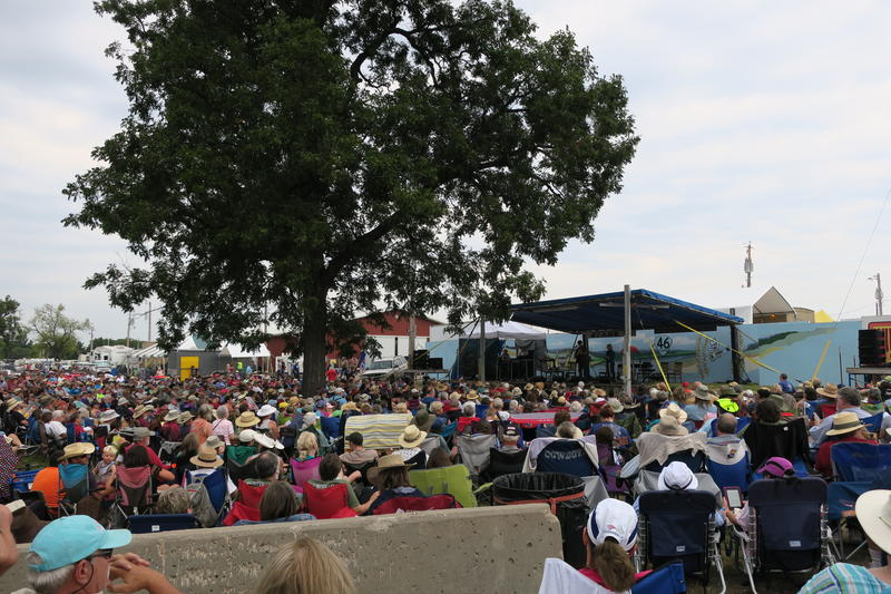 Folk musician John McCutcheon performs on Stage 3 at the Walnut Valley Festival in Winfield, KS.