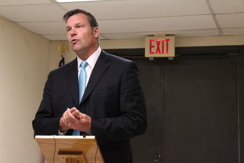 Kris Kobach speaks to reporters at the Sedgwick County Elections Office in Wichita on Tuesday.
