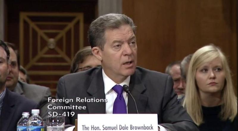 Gov. Brownback speaking at the hearing.