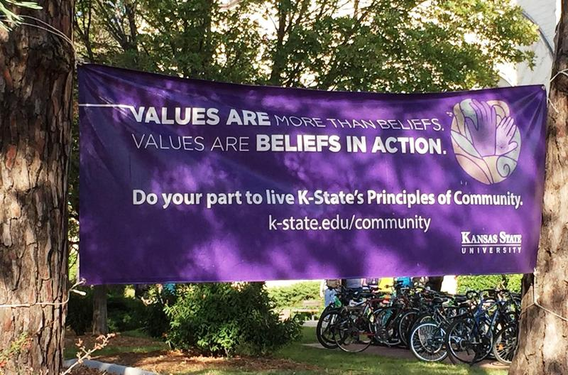 A banner displayed in the middle of the Kansas State University campus. K-State has been rated among the 25 campuses for LGBT students in the country.