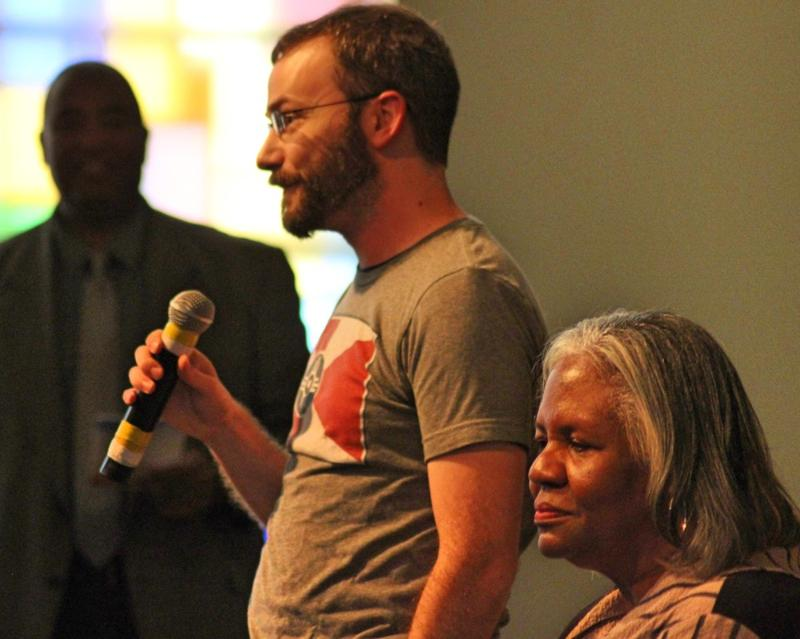 Ben Blankley and Betty Arnold at the Voter Empowerment Forum in late September.