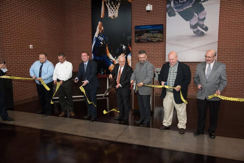 City of Wichita and Sedgwick County officials attend a ribbon-cutting ceremony Monday to officially open Intrust Bank Arena Entrance C.