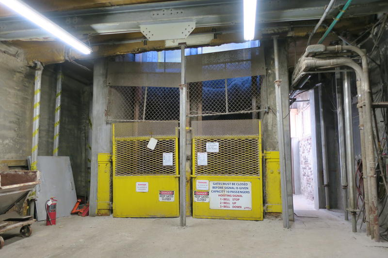 The entrance to the shaft of the Hutchinson Salt Co. Salt, people, and equipment are vertically moved more than 650 feet in about 75 seconds.