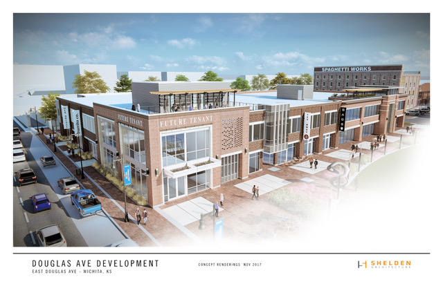 A rendering of the Douglas Avenue Development project in the 600 block of East Douglas, near Naftzger Park.