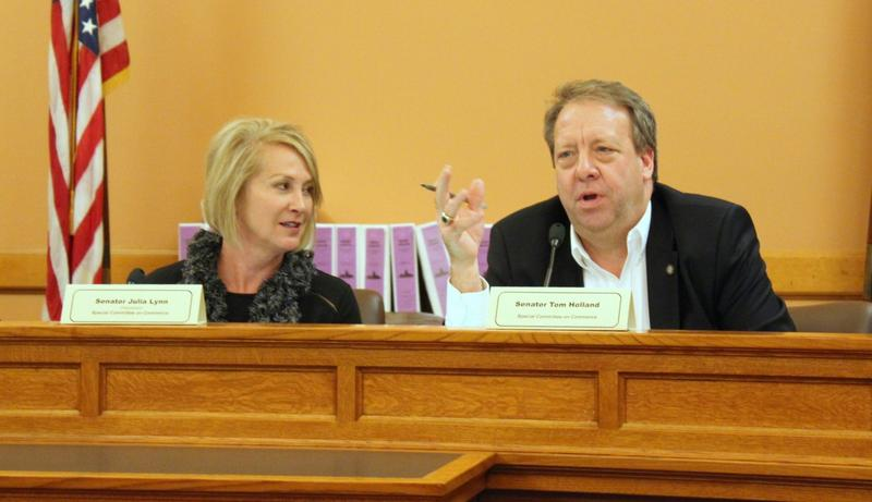 Republican Sen. Julia Lynn, left, and Democratic Sen. Tom Holland at the Statehouse Wednesday