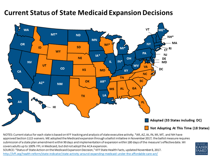 2017 status of state Medicaid expansion decisions.