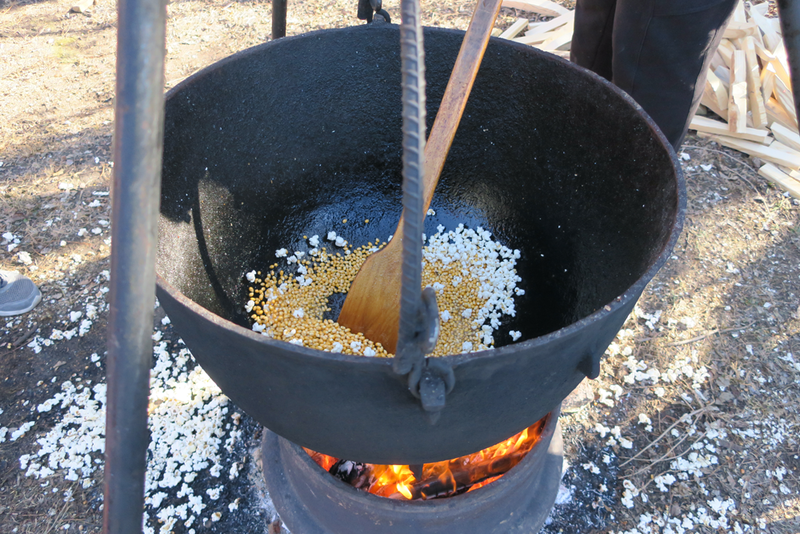 Popcorn is popped in a cast iron kettle over an open fire.
