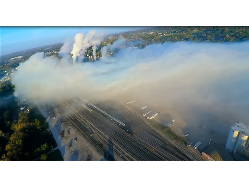 A toxic plume of chlorine gas drifts from the MGPI processing plant in Atchsion, KS