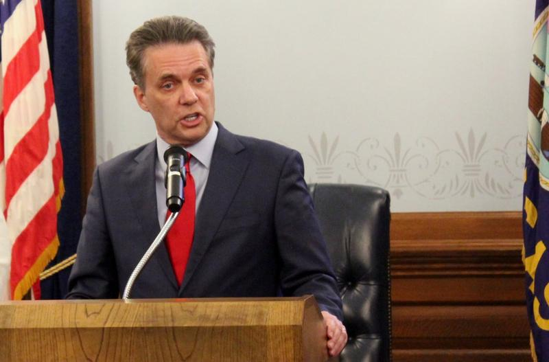 Lt. Gov. Jeff Colyer speaks at an event in November. He takes over as governor on Wednesday when Gov. Sam Brownback officially steps down to take a position under the Trump administration.