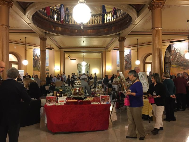 Kansas companies displayed their products at the Statehouse Tuesday to celebrate the 40th anniversary of a state trademark.