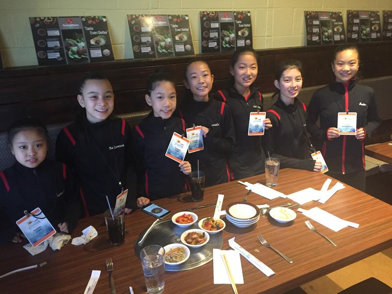 Members of the Rose City Crystals ice skating team from Pasadena, California. The team is competing in Wichita as part of the Midwestern and Pacific Coast Synchronized Skating Sectional Championships.
