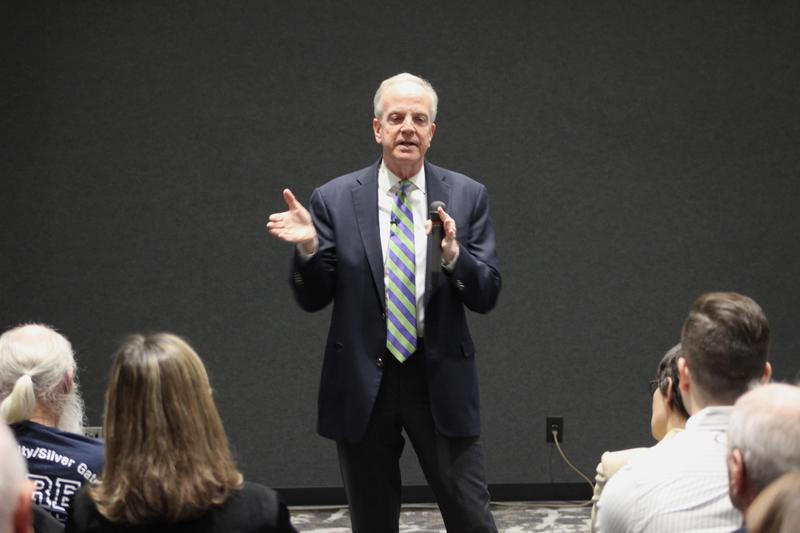 Sen. Moran speaks to the crowd at a town hall meeting in Wichita on Wednesday. He said the state desperately needs to invest in infrastructure, but more details are needed about President Trump's $1.5 trillion pitch to Congress.