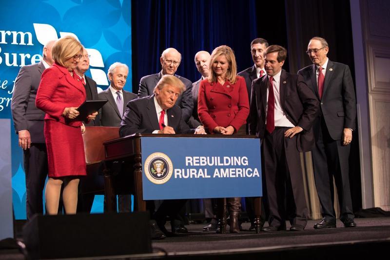 U.S. Sen. Pat Roberts joined President Donald Trump on Monday at the American Farm Bureau convention in Nashville, Tenn.