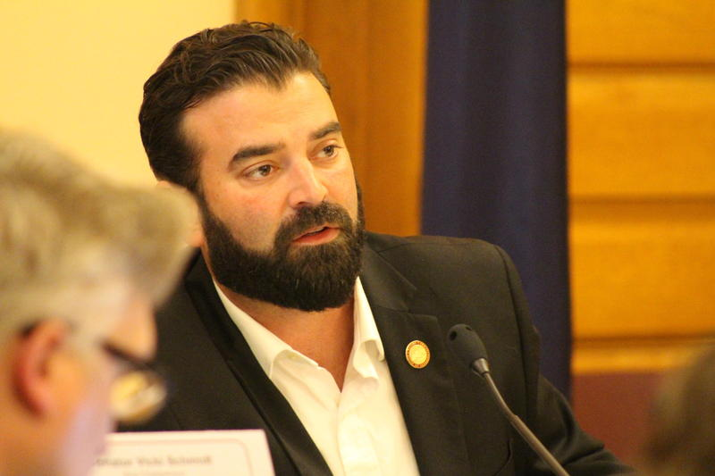 Democratic Rep. Jarrod Ousley, of Merriam, asks a question at the Child Welfare Task Force's December meeting. Ousley was one of the lawmakers who pushed for the task force's formation.
