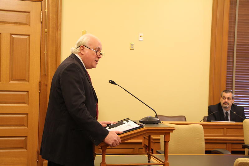 Rick Cagan, executive director of the Kansas chapter of the National Alliance on Mental Illness, testifies for a bill to suspend, rather than terminate, Medicaid for Kansans in custody.