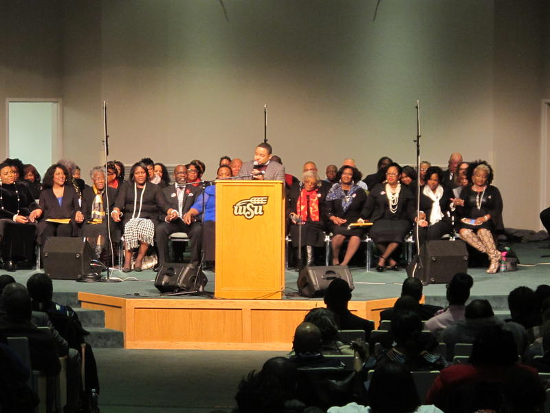 Smokie Norful, pastor of Chicago's Victory Cathedral Worship Center, speaks at Monday's MLK event in Wichita.