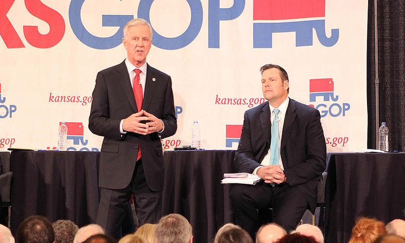 Wink Hartman, left, who pulled out of the Republican governor's race and is now backing Kris Kobach, is offering his Wichita-area arena to the NRA for its annual convention.