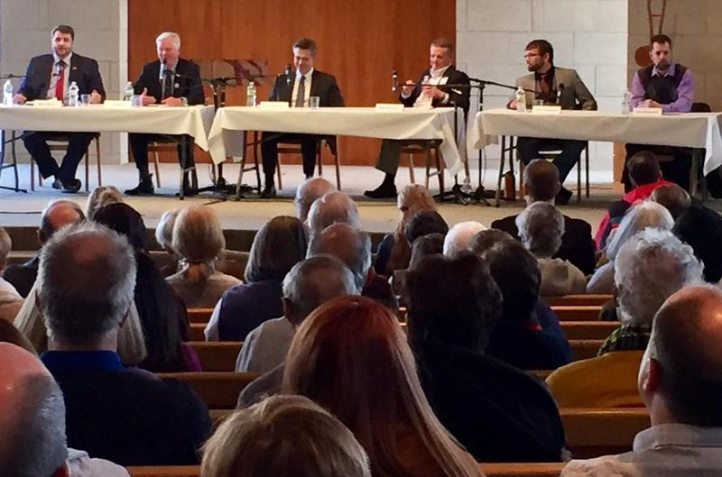 About 500 people packed the sanctuary at Congregation Beth Torah Sunday to hear from six of the people running for the 3rd Congressional District seat in Kansas. Incumbent Rep. Kevin Yoder did not attend.