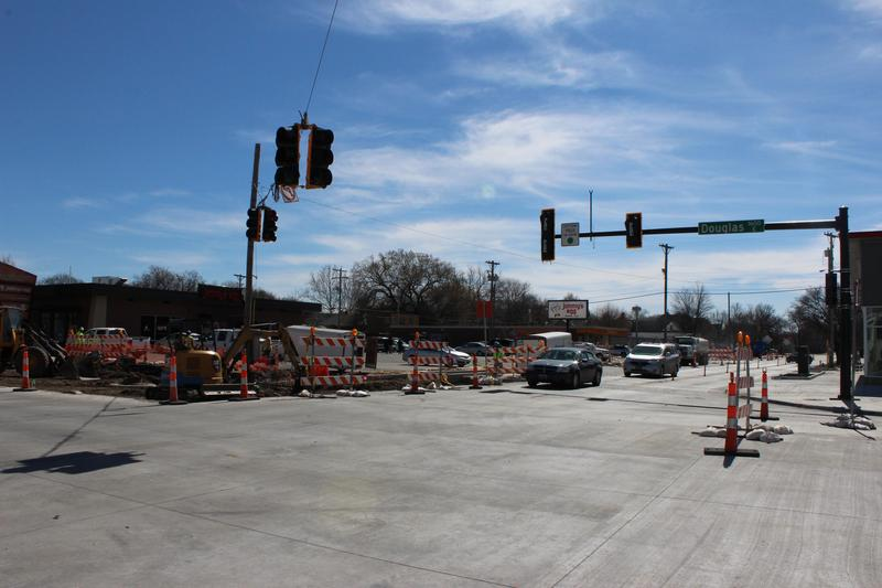 Some construction projects, like one at Douglas and Hydraulic, are ongoing, while others have wrapped up or are being put on hold during the NCAA tournament in Wichita.