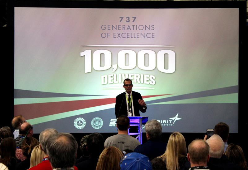 Spirit AeroSystems CEO Tom Gentile speaks at an event Friday. The company delivered its 10,000th shipment in the 737 program to Boeing in February.