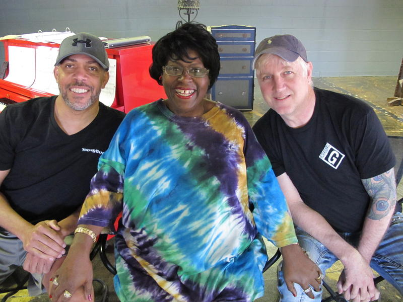 """Pianist Huron Breaux, star Karla Burns and director Rick Bumbgardner pose after a rehearsal for """"Hi-Hat Hattie."""" The show opens Friday at Roxy's Downtown."""
