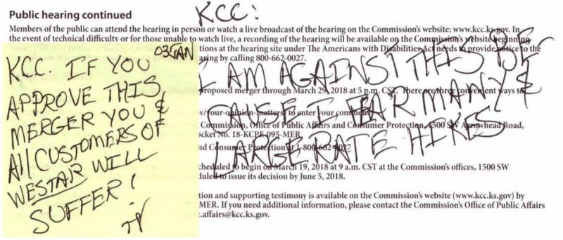 A letter sent in to the Kansas Corporation Commission by Thomas Vavra.