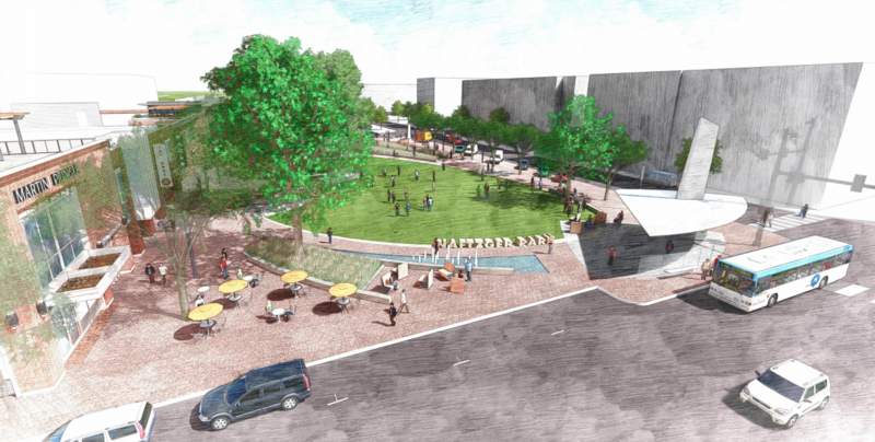 A rendering of the redesigned Naftzger Park