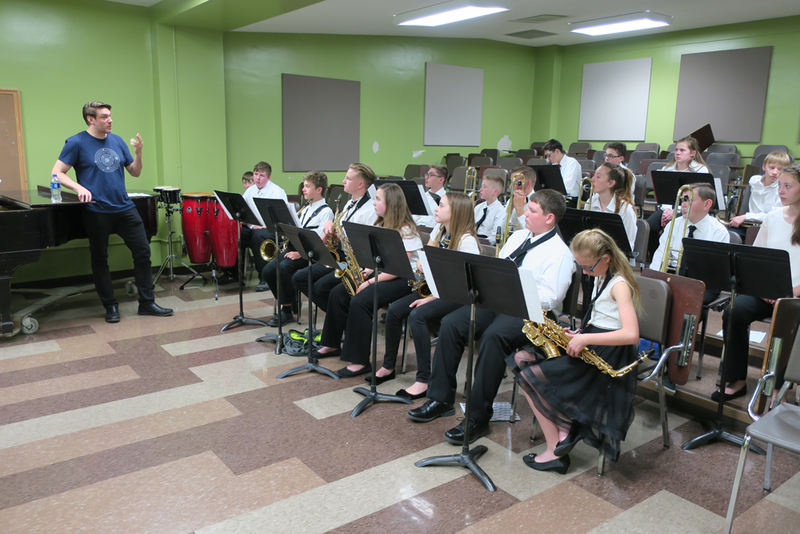 Wichita Jazz Festival performer Ben Allison, left, conducts a workshop with the McPherson Middle School Jazz Band at Wichita State University.