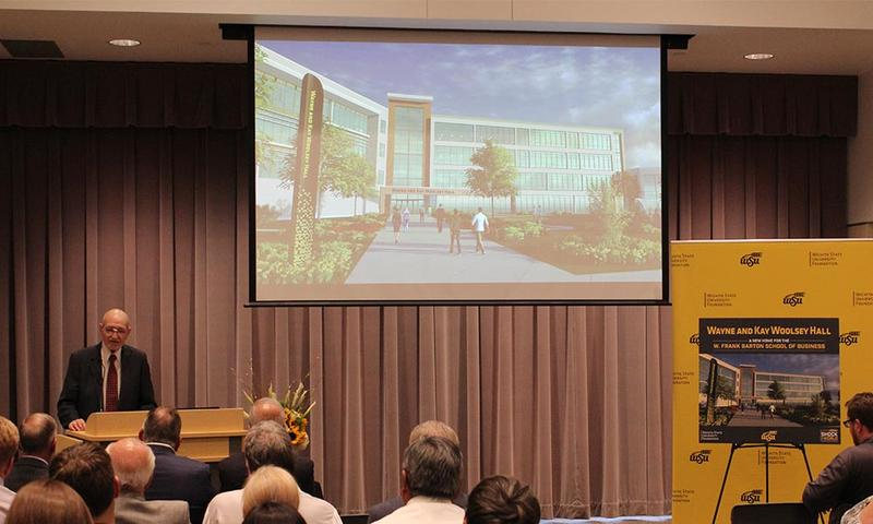 Wayne Woolsey speaks during an event Wednesday at Wichita State announcing his family's $12 million cash gift.