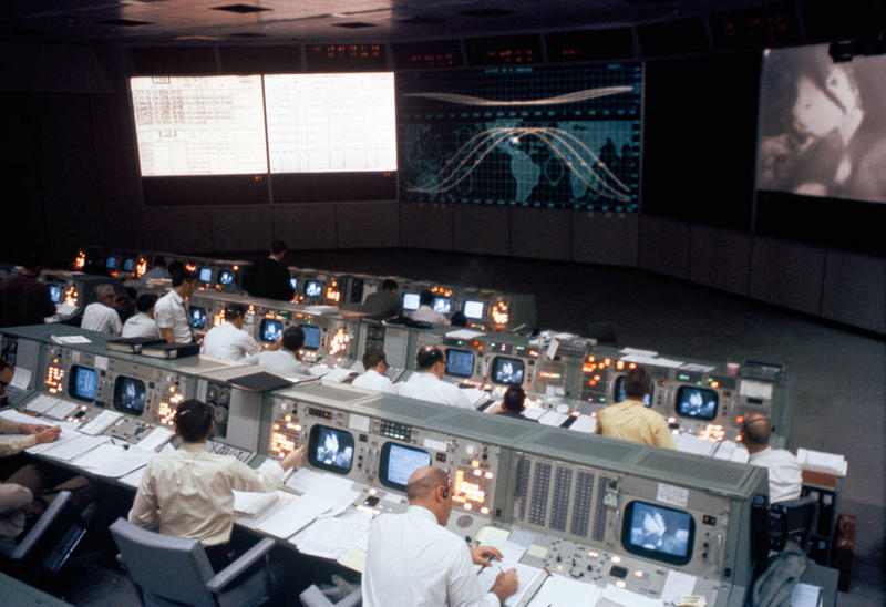 Overall view of the Mission Operations Control Room  at Johnson Space Center during the Apollo 9 Earth-orbital mission.
