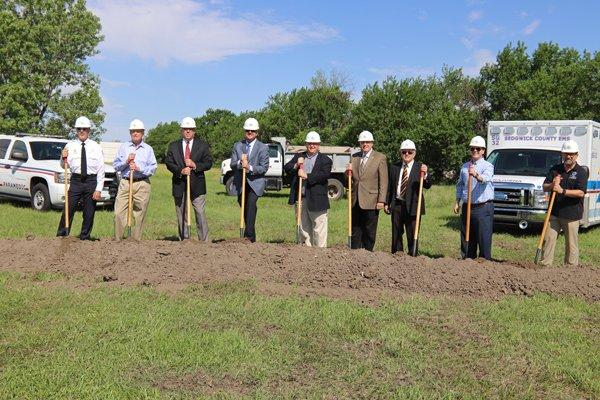Sedgwick County leaders break ground Monday morning at the site of a new EMS station at 34th and North Webb Road.