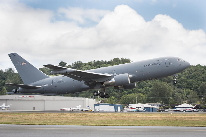 A KC-46A Pegasus tanker takes off from Boeing Field in Seattle last month.