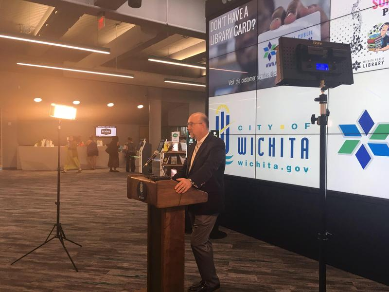 Wichita Mayor Jeff Longwell speaks at his briefing Thursday, when he announced the 2019 budget will fully fund the branch library system and CityArts.