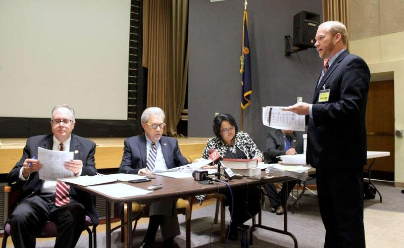 Will Lawrence speaks before the Objections Board on Thursday.