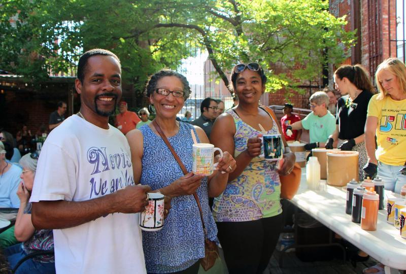 Enjoying ice cream at the KMUW Fill Your Mug Listener Appreciation Event