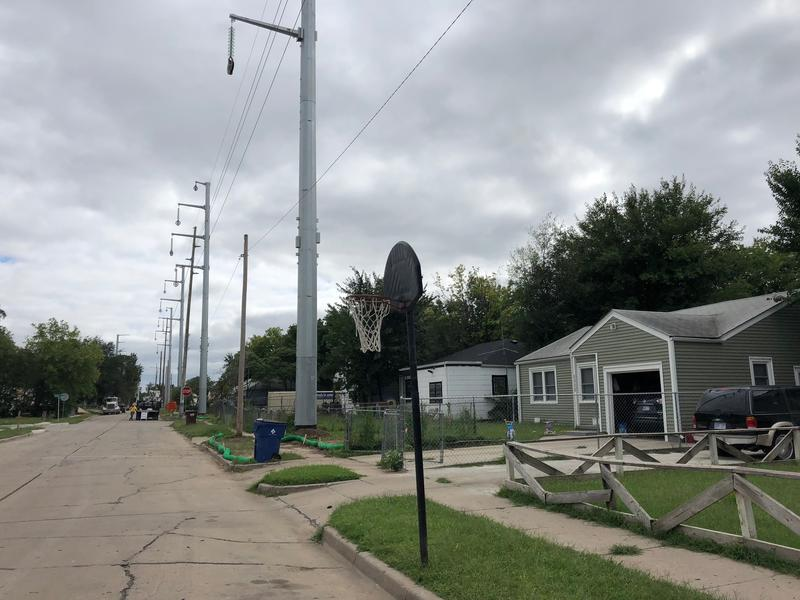 Electric polls along Green Street in northeast Wichita.