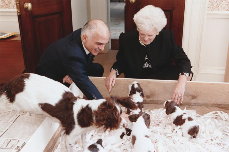 Barbara Bush with Millie and her puppies