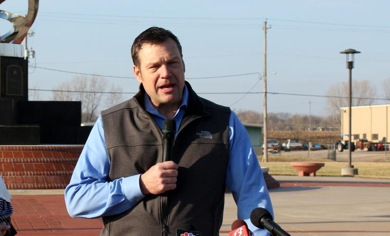 Secretary of State Kris Kobach speaking at a campaign event earlier this year.