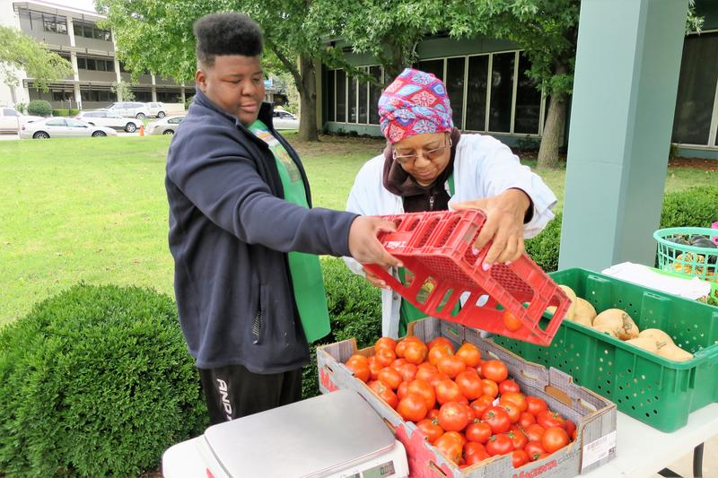 Donna Pearson McClish, right, and Sam Walker set up a farmer's market outside the Sedgwick County Health Department in Wichita.