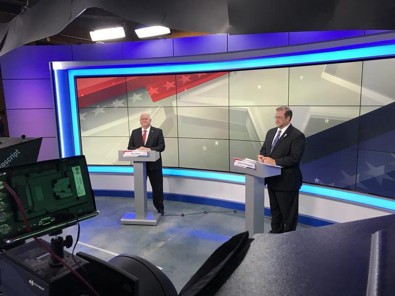 Republican Ron Estes, left, and Democrat James Thompson in the KWCH studio during the 4th District debate Wednesday in Wichita.