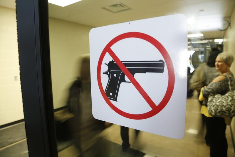 A no guns allowed sign at Southeast High School in 2016.